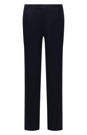 Мужские шерстяные брюки BRIONI темно-синего цвета, арт. RPAV0L/07AB4/M0ENA   Фото 1 (Материал внешний: Шерсть; Материал подклада: Синтетический материал, Хлопок; Случай: Повседневный; Стили: Кэжуэл; Длина (брюки, джинсы): Стандартные)