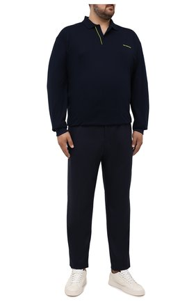 Мужское хлопковое поло PAUL&SHARK темно-синего цвета, арт. 11311717/C00/3XL-6XL | Фото 2 (Застежка: Пуговицы; Рукава: Длинные; Длина (для топов): Удлиненные; Материал внешний: Хлопок; Стили: Кэжуэл)