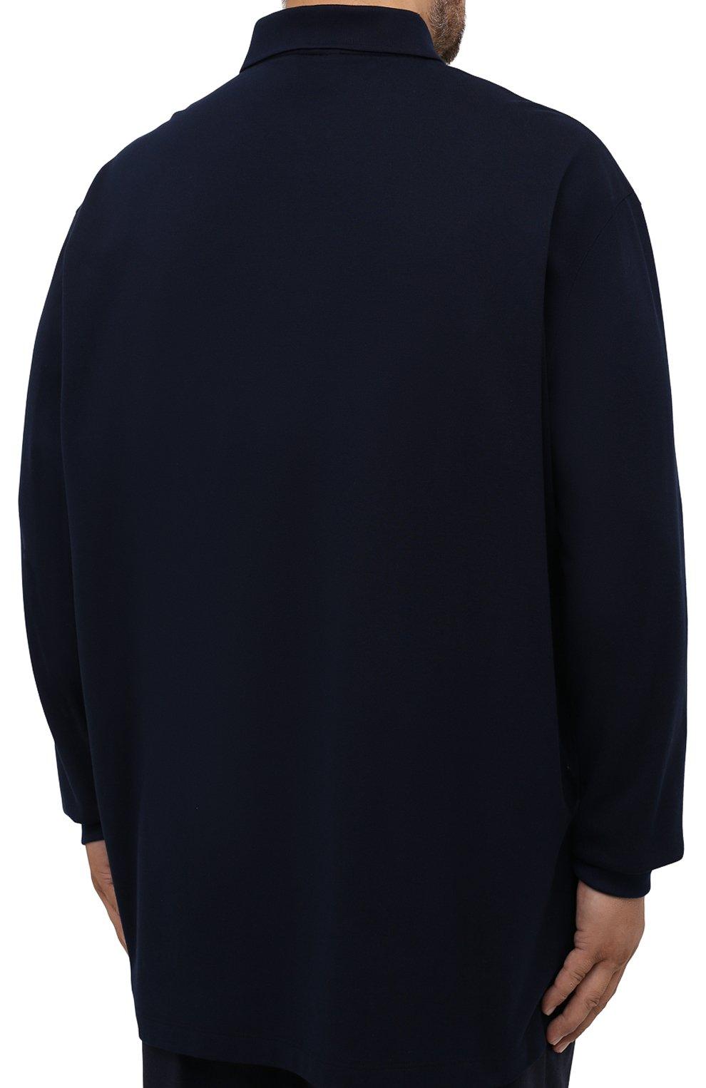 Мужское хлопковое поло PAUL&SHARK темно-синего цвета, арт. 11311717/C00/3XL-6XL | Фото 4 (Застежка: Пуговицы; Рукава: Длинные; Длина (для топов): Удлиненные; Материал внешний: Хлопок; Стили: Кэжуэл)