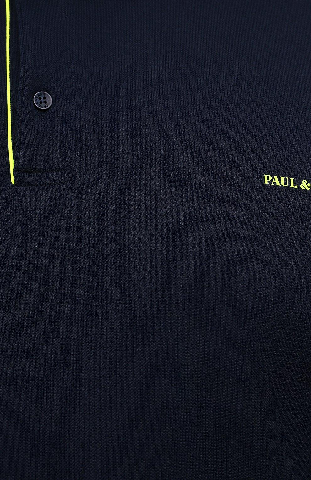 Мужское хлопковое поло PAUL&SHARK темно-синего цвета, арт. 11311717/C00/3XL-6XL | Фото 5 (Застежка: Пуговицы; Рукава: Длинные; Длина (для топов): Удлиненные; Материал внешний: Хлопок; Стили: Кэжуэл)