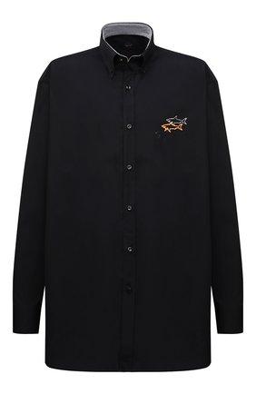Мужская хлопковая рубашка PAUL&SHARK черного цвета, арт. 11313140/C00 | Фото 1 (Материал внешний: Хлопок; Рукава: Длинные; Случай: Повседневный; Рубашки М: Regular Fit; Big sizes: Big Sizes; Длина (для топов): Удлиненные; Воротник: Button down; Принт: Однотонные; Манжеты: На пуговицах)