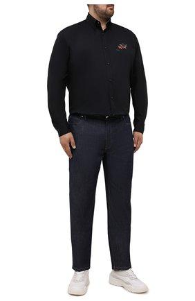 Мужская хлопковая рубашка PAUL&SHARK черного цвета, арт. 11313140/C00 | Фото 2 (Материал внешний: Хлопок; Рукава: Длинные; Случай: Повседневный; Рубашки М: Regular Fit; Big sizes: Big Sizes; Длина (для топов): Удлиненные; Воротник: Button down; Принт: Однотонные; Манжеты: На пуговицах)