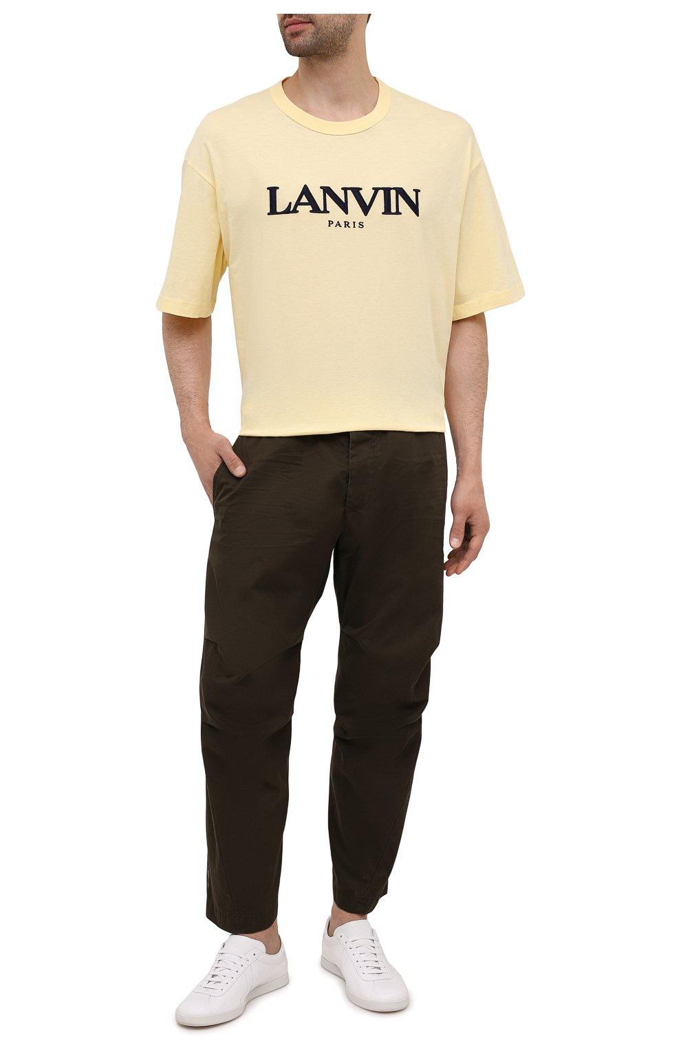 Мужские хлопковые брюки DSQUARED2 хаки цвета, арт. S74KB0591/S41794   Фото 2 (Длина (брюки, джинсы): Стандартные; Случай: Повседневный; Стили: Гранж; Материал внешний: Хлопок)