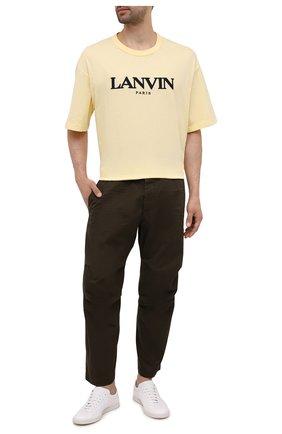 Мужские хлопковые брюки DSQUARED2 хаки цвета, арт. S74KB0591/S41794 | Фото 2 (Длина (брюки, джинсы): Стандартные; Материал внешний: Хлопок; Случай: Повседневный; Стили: Гранж)