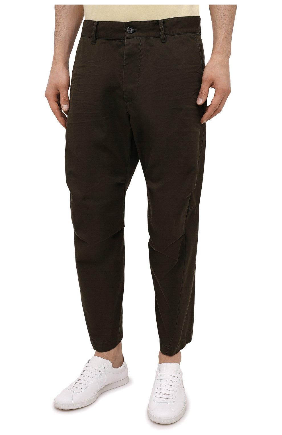 Мужские хлопковые брюки DSQUARED2 хаки цвета, арт. S74KB0591/S41794   Фото 3 (Длина (брюки, джинсы): Стандартные; Случай: Повседневный; Стили: Гранж; Материал внешний: Хлопок)