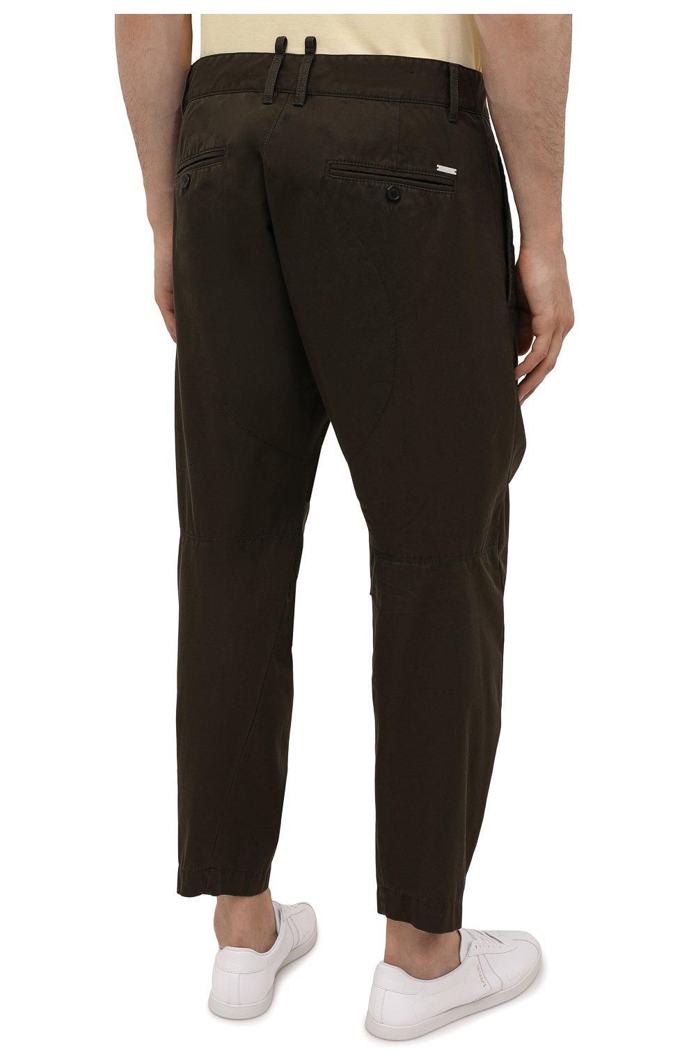Мужские хлопковые брюки DSQUARED2 хаки цвета, арт. S74KB0591/S41794   Фото 4 (Длина (брюки, джинсы): Стандартные; Случай: Повседневный; Стили: Гранж; Материал внешний: Хлопок)
