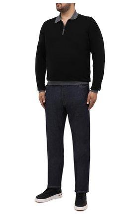 Мужское шерстяное поло CANALI серого цвета, арт. C0572B/MK00997 | Фото 2 (Материал внешний: Шерсть; Застежка: Молния; Рукава: Длинные; Длина (для топов): Стандартные; Кросс-КТ: Трикотаж; Стили: Кэжуэл)