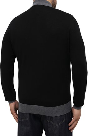 Мужское шерстяное поло CANALI серого цвета, арт. C0572B/MK00997 | Фото 4 (Материал внешний: Шерсть; Застежка: Молния; Рукава: Длинные; Длина (для топов): Стандартные; Кросс-КТ: Трикотаж; Стили: Кэжуэл)
