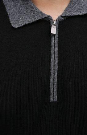 Мужское шерстяное поло CANALI серого цвета, арт. C0572B/MK00997 | Фото 5 (Материал внешний: Шерсть; Застежка: Молния; Рукава: Длинные; Длина (для топов): Стандартные; Кросс-КТ: Трикотаж; Стили: Кэжуэл)