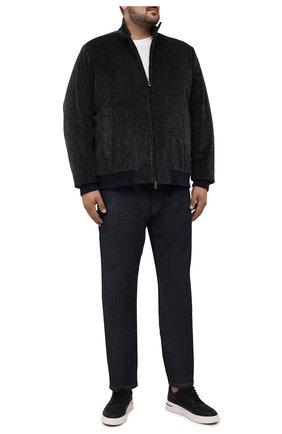 Мужской утепленный бомбер CANALI фиолетового цвета, арт. 040661P/SG02158 | Фото 2 (Длина (верхняя одежда): Короткие; Рукава: Длинные; Материал подклада: Синтетический материал; Материал внешний: Хлопок; Кросс-КТ: Куртка; Стили: Кэжуэл; Big sizes: Big Sizes; Принт: Без принта)