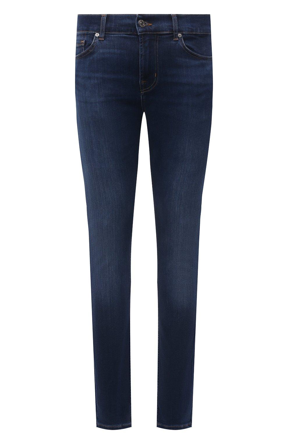 Мужские джинсы 7 FOR ALL MANKIND синего цвета, арт. JSD4U580TU   Фото 1 (Силуэт М (брюки): Узкие; Длина (брюки, джинсы): Стандартные; Материал внешний: Хлопок)