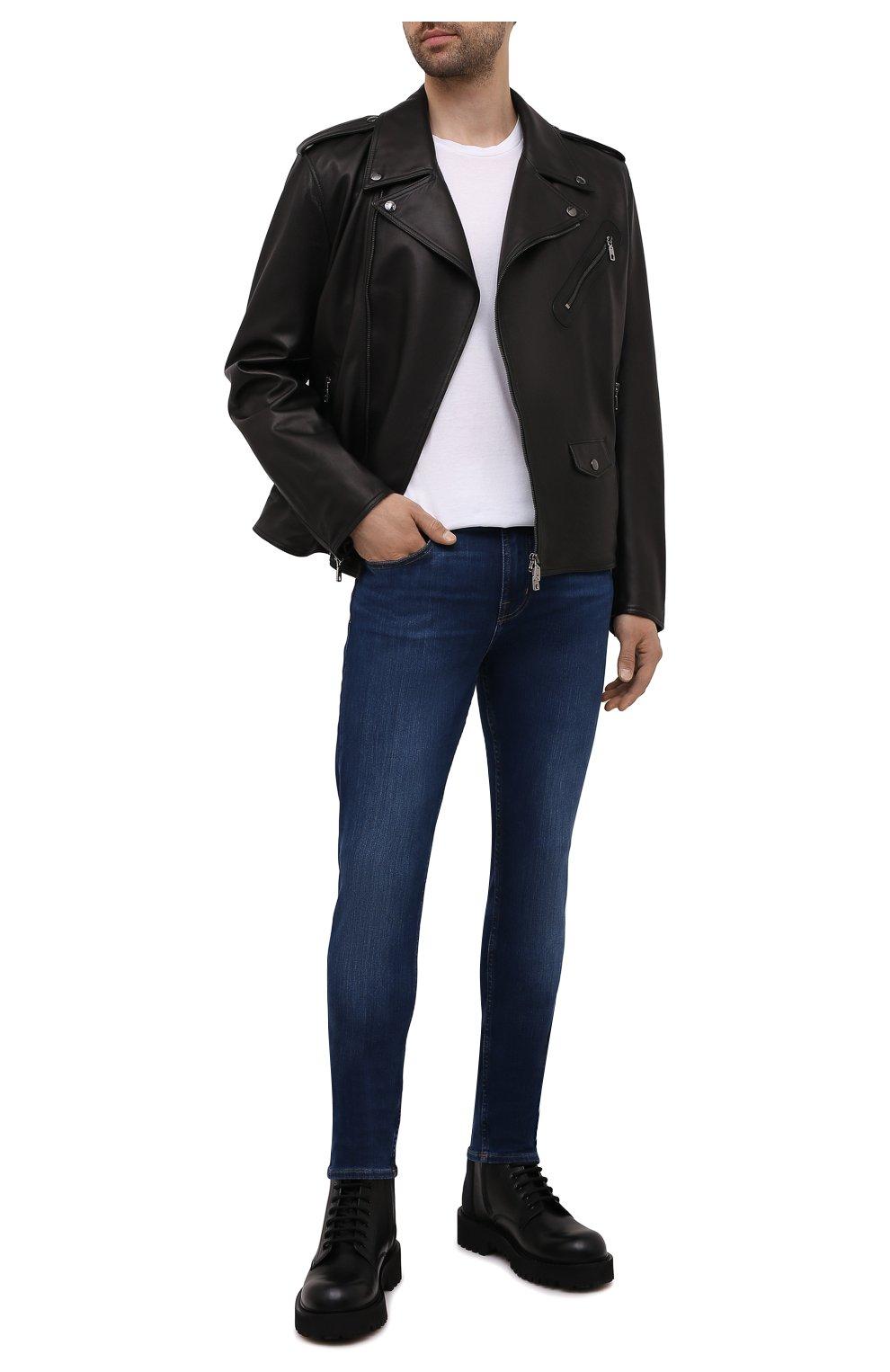 Мужские джинсы 7 FOR ALL MANKIND синего цвета, арт. JSD4U580TU   Фото 2 (Силуэт М (брюки): Узкие; Длина (брюки, джинсы): Стандартные; Материал внешний: Хлопок)
