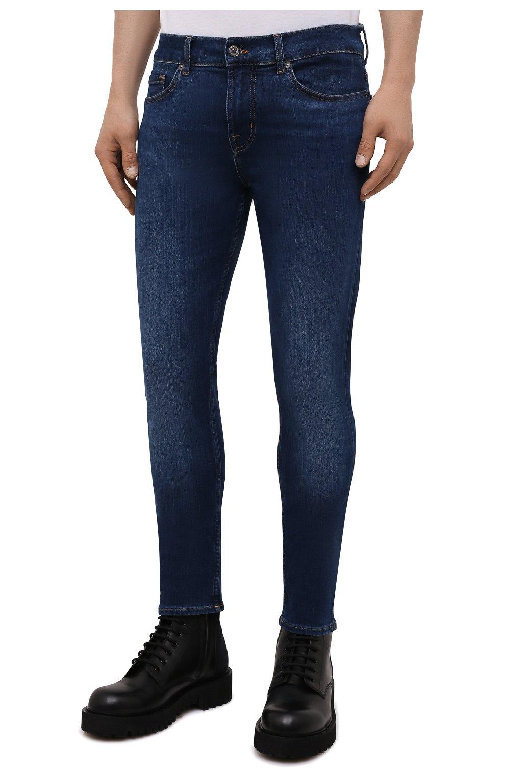 Мужские джинсы 7 FOR ALL MANKIND синего цвета, арт. JSD4U580TU   Фото 3 (Силуэт М (брюки): Узкие; Длина (брюки, джинсы): Стандартные; Материал внешний: Хлопок)