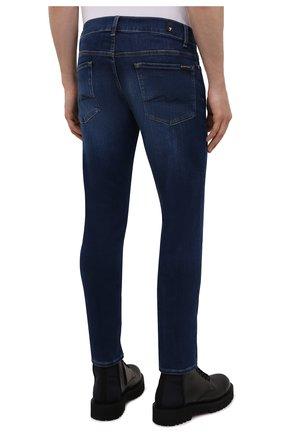Мужские джинсы 7 FOR ALL MANKIND синего цвета, арт. JSD4U580TU   Фото 4 (Силуэт М (брюки): Узкие; Длина (брюки, джинсы): Стандартные; Материал внешний: Хлопок)
