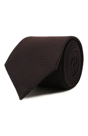 Мужской галстук из шелка и кашемира ZEGNA COUTURE коричневого цвета, арт. Z2C05T/13X | Фото 1