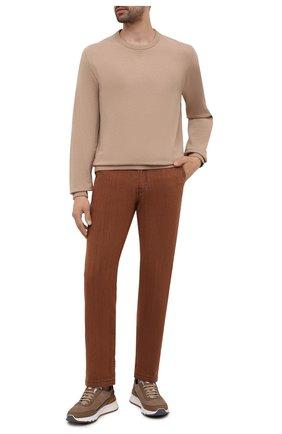 Мужские джинсы KITON коричневого цвета, арт. UFPPTM/J0336A | Фото 2 (Материал внешний: Хлопок; Силуэт М (брюки): Прямые; Длина (брюки, джинсы): Стандартные; Стили: Кэжуэл; Кросс-КТ: Деним)