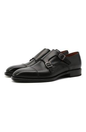 Мужские кожаные монки W.GIBBS черного цвета, арт. 7335002/2253 | Фото 1