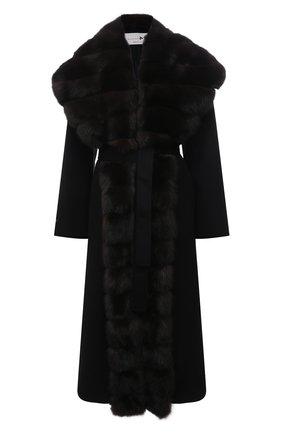 Женское пальто из шерсти и кашемира с меховой отделкой MANZONI24 черного цвета, арт. 21M647-DB1Z/38-46   Фото 1