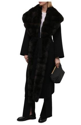 Женское пальто из шерсти и кашемира с меховой отделкой MANZONI24 черного цвета, арт. 21M647-DB1Z/38-46   Фото 2
