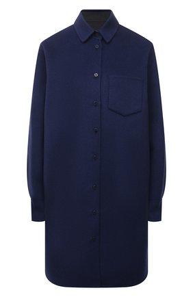 Женское пальто из шерсти и кашемира MANZONI24 синего цвета, арт. 21M379-DB1/38-46   Фото 1