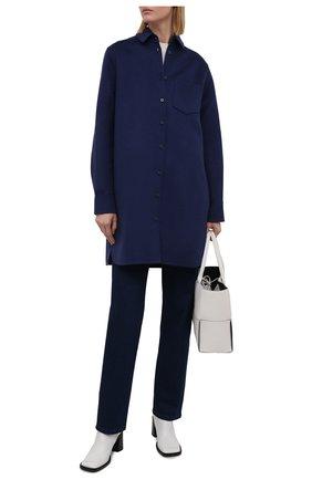 Женское пальто из шерсти и кашемира MANZONI24 синего цвета, арт. 21M379-DB1/38-46   Фото 2