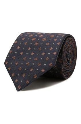 Мужской шелковый галстук BRIONI темно-синего цвета, арт. 061Q00/01406 | Фото 1 (Материал: Текстиль; Принт: С принтом)