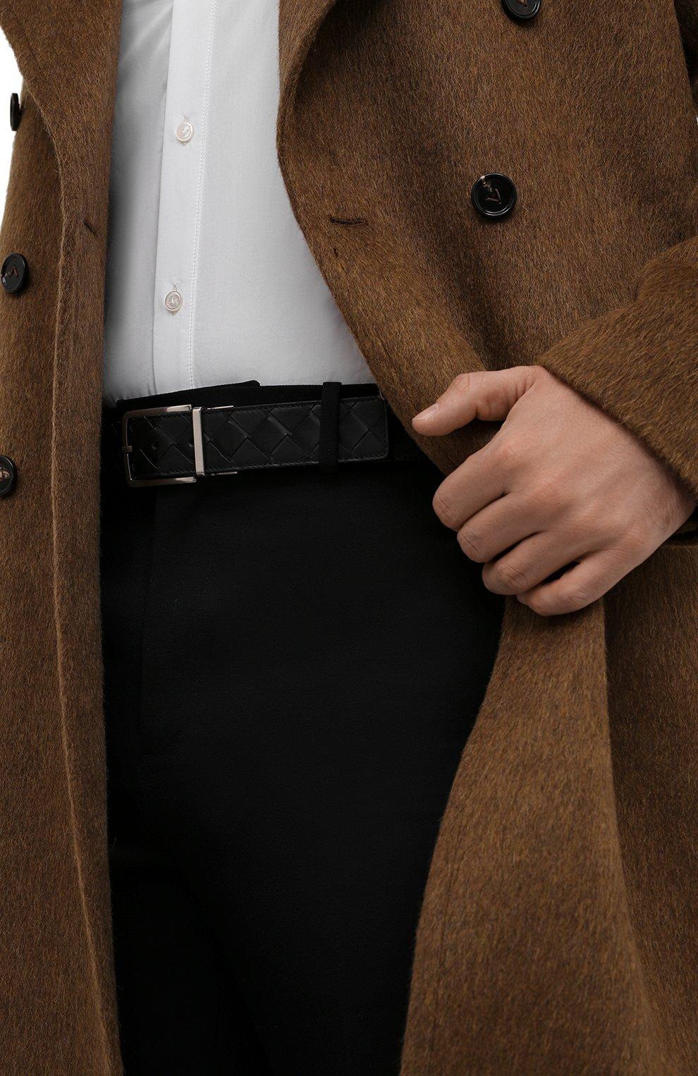 Мужской кожаный ремень BOTTEGA VENETA черного цвета, арт. 652944/VCPQ1   Фото 2 (Случай: Повседневный)