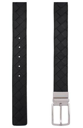 Мужской кожаный ремень BOTTEGA VENETA черного цвета, арт. 652944/VCPQ1   Фото 3 (Случай: Повседневный)