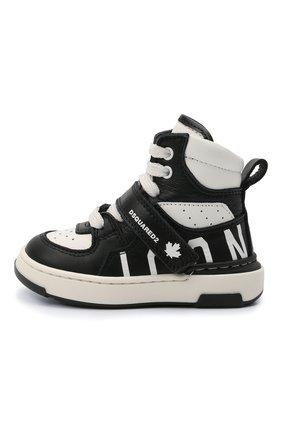 Детские высокие кожаные кеды DSQUARED2 черно-белого цвета, арт. 68647/KIPS/KIPS/KIPS/KIPS/18-26 | Фото 2 (Материал внутренний: Натуральная кожа; Кросс-КТ: велькро)