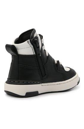 Детские высокие кожаные кеды DSQUARED2 черно-белого цвета, арт. 68647/KIPS/KIPS/KIPS/KIPS/18-26 | Фото 3 (Материал внутренний: Натуральная кожа; Кросс-КТ: велькро)