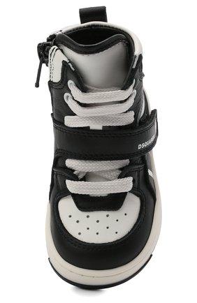 Детские высокие кожаные кеды DSQUARED2 черно-белого цвета, арт. 68647/KIPS/KIPS/KIPS/KIPS/18-26 | Фото 4 (Материал внутренний: Натуральная кожа; Кросс-КТ: велькро)
