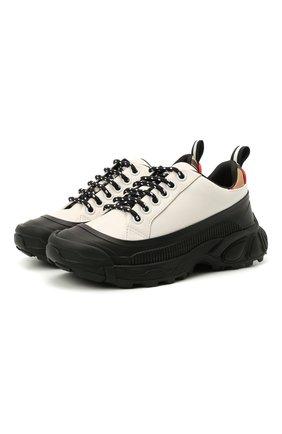 Детские кожаные кроссовки BURBERRY черно-белого цвета, арт. 8041004 | Фото 1