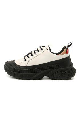 Детские кожаные кроссовки BURBERRY черно-белого цвета, арт. 8041004 | Фото 2