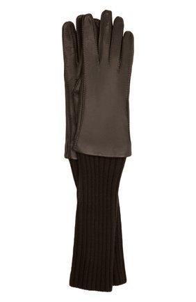 Женские перчатки LORO PIANA темно-коричневого цвета, арт. FAL8232 | Фото 1