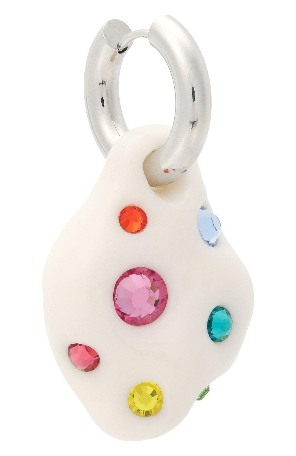 Женские моносерьга LILI ARCHIVE белого цвета, арт. MeM4C16S | Фото 3 (Кросс-КТ: моносерьга; Материал: Кристаллы, Керамика)