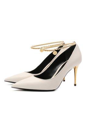 Женские кожаные туфли TOM FORD белого цвета, арт. W2560T-LKD002 | Фото 1