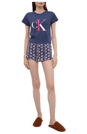Женская хлопковая пижама CALVIN KLEIN темно-синего цвета, арт. QS6443E | Фото 1