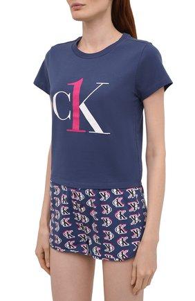 Женская хлопковая пижама CALVIN KLEIN темно-синего цвета, арт. QS6443E | Фото 2