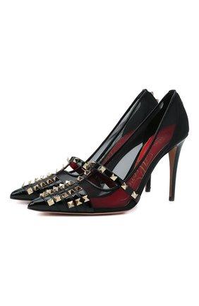 Женские кожаные туфли rockstud alcove VALENTINO черного цвета, арт. WW2S0CV9/AMW | Фото 1