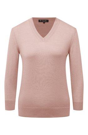Женский пуловер из кашемира и шелка LORO PIANA розового цвета, арт. FAL7014 | Фото 1
