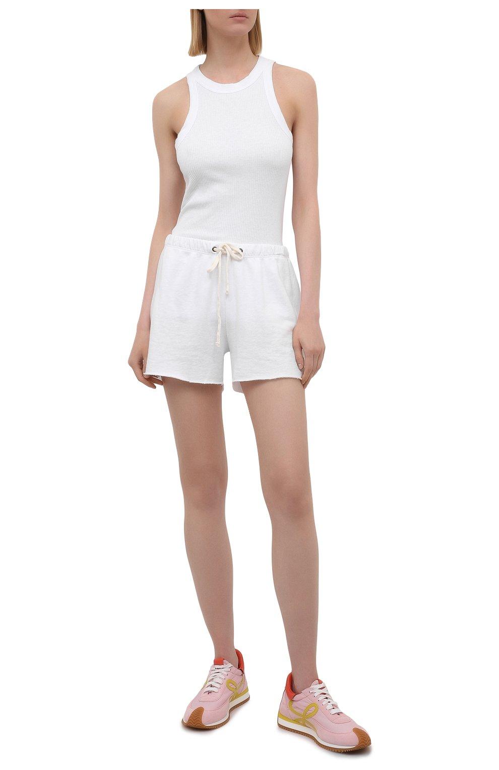 Женские хлопковые шорты JAMES PERSE белого цвета, арт. WXA4288 | Фото 2 (Женское Кросс-КТ: Шорты-одежда; Длина Ж (юбки, платья, шорты): Мини; Материал внешний: Хлопок; Стили: Спорт-шик)