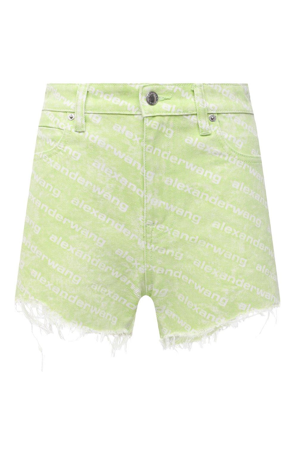 Женские джинсовые шорты DENIM X ALEXANDER WANG зеленого цвета, арт. 4DC3214989 | Фото 1 (Женское Кросс-КТ: Шорты-одежда; Длина Ж (юбки, платья, шорты): Мини; Материал внешний: Хлопок; Стили: Спорт-шик)