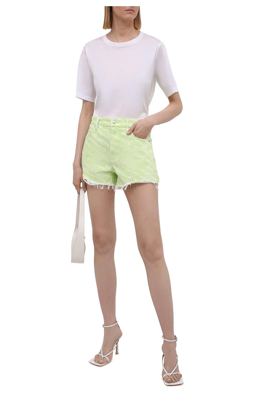 Женские джинсовые шорты DENIM X ALEXANDER WANG зеленого цвета, арт. 4DC3214989 | Фото 2 (Женское Кросс-КТ: Шорты-одежда; Длина Ж (юбки, платья, шорты): Мини; Материал внешний: Хлопок; Стили: Спорт-шик)