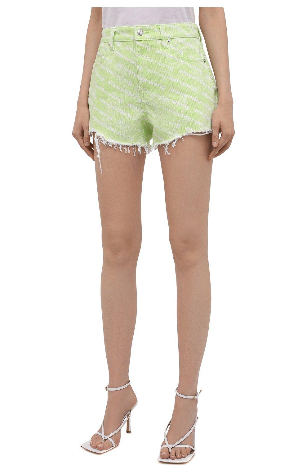 Женские джинсовые шорты DENIM X ALEXANDER WANG зеленого цвета, арт. 4DC3214989 | Фото 3 (Женское Кросс-КТ: Шорты-одежда; Длина Ж (юбки, платья, шорты): Мини; Материал внешний: Хлопок; Стили: Спорт-шик)