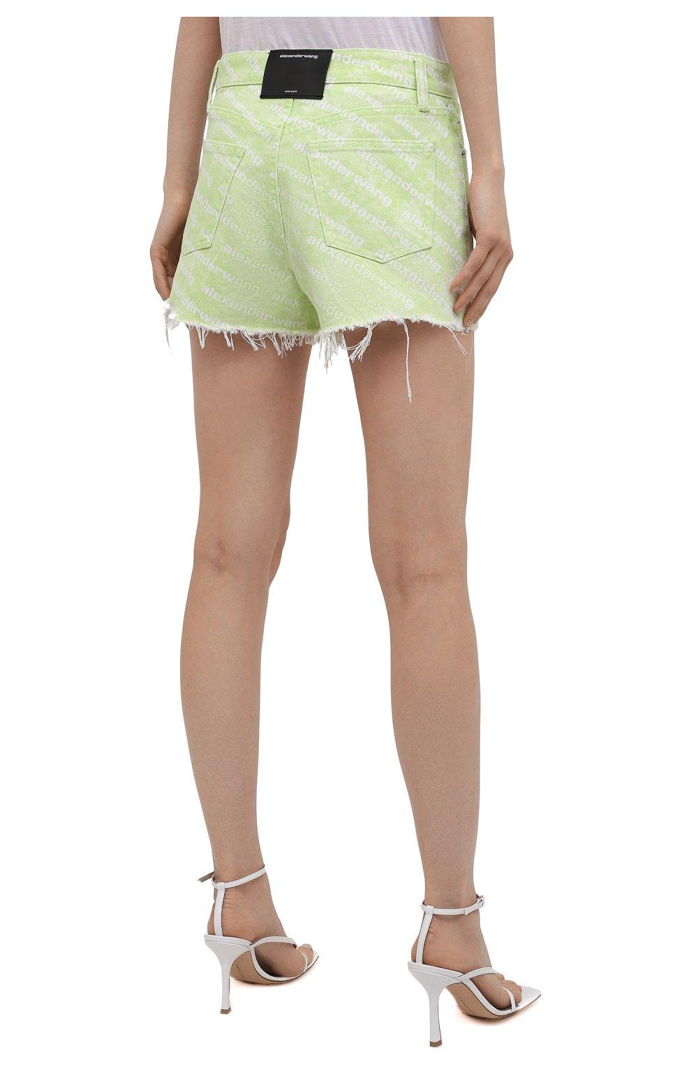 Женские джинсовые шорты DENIM X ALEXANDER WANG зеленого цвета, арт. 4DC3214989 | Фото 4 (Женское Кросс-КТ: Шорты-одежда; Длина Ж (юбки, платья, шорты): Мини; Материал внешний: Хлопок; Стили: Спорт-шик)