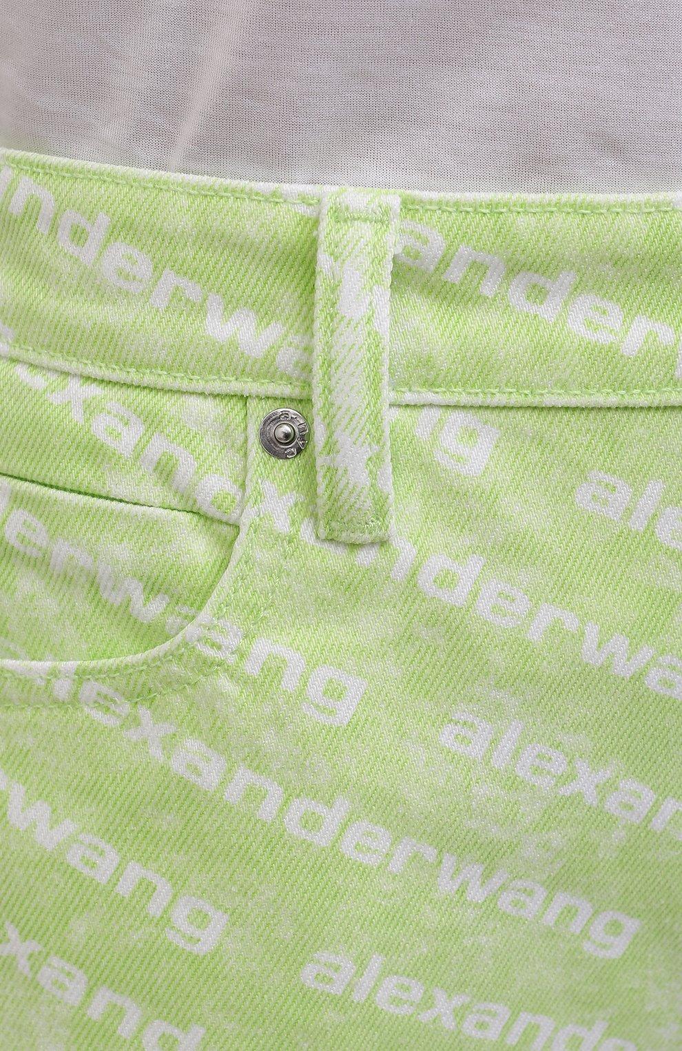 Женские джинсовые шорты DENIM X ALEXANDER WANG зеленого цвета, арт. 4DC3214989 | Фото 5 (Женское Кросс-КТ: Шорты-одежда; Длина Ж (юбки, платья, шорты): Мини; Материал внешний: Хлопок; Стили: Спорт-шик)