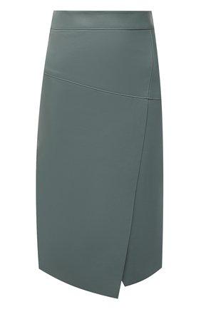 Женская кожаная юбка BOSS зеленого цвета, арт. 50453185 | Фото 1