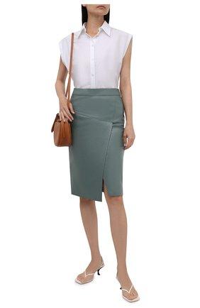 Женская кожаная юбка BOSS зеленого цвета, арт. 50453185 | Фото 2