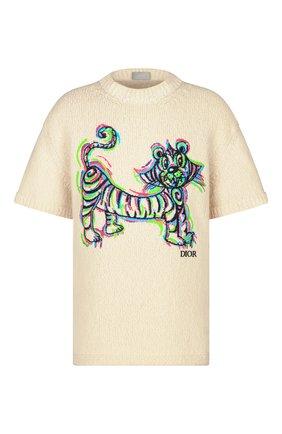 Мужской свитер из шерсти и хлопка dior x kenny scharf DIOR кремвого цвета, арт. 193M636AT329C089 | Фото 1
