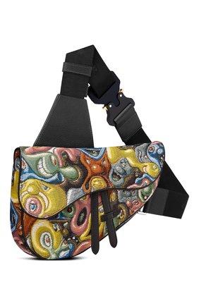 Мужская текстильная сумка saddle dior x kenny scharf DIOR разноцветного цвета, арт. 1ADPO093KSIH26E | Фото 1